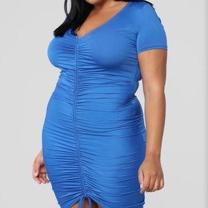 Smart & Sexy Shape blue ruched dress